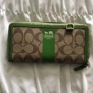 Green/brown coach wallet